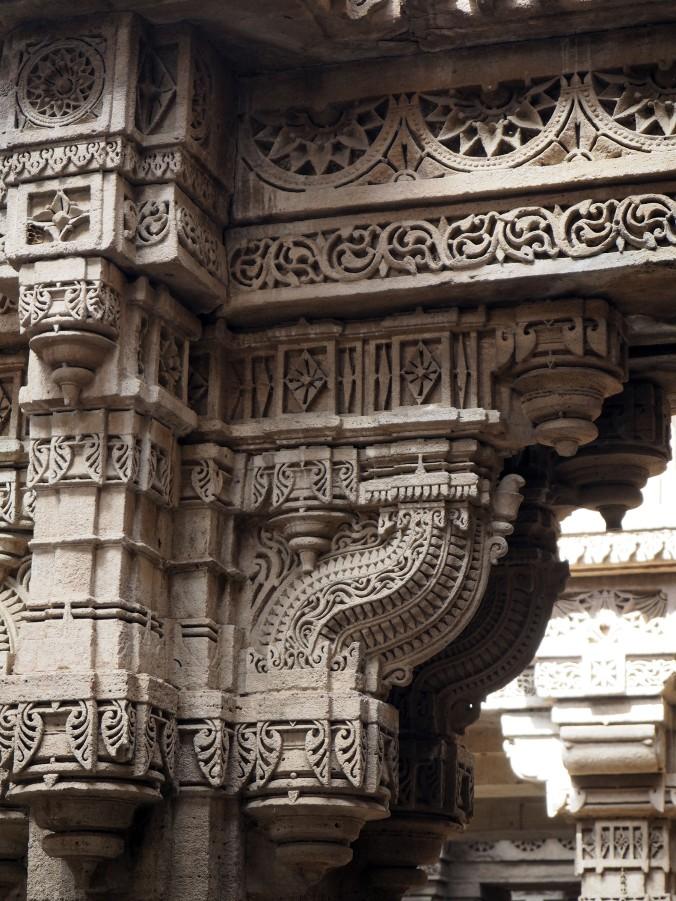 Fine carved detail at Adalaj Stepwell. Ahmedabad