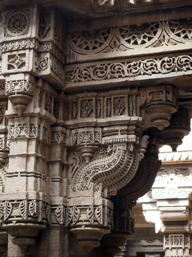 Fine carved detail at Adalaj Stepwell. Ahmedabad