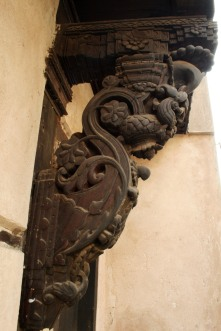 Carved wooden detail of a house in old Ahmedabad