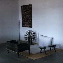 Gandhi's desk, spinning wheel & staff at the Gandhi Ashram