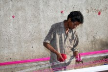 Preparing kite strings for the kite festival, Ahmedabad