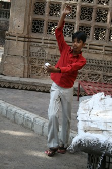 Cricket game outside Jama Masjid (mosque), old Ahmedabad