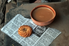Chai with biscuit at Shiv's Chai, Assi Ghat