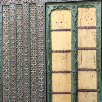 Detail of carved wooden screens in old haveli, Ahmedabad