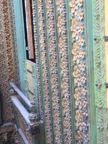 Detailed carved wooden wall in old haveli, Ahmedabad