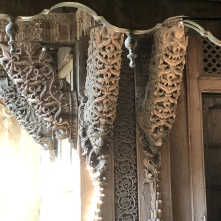 Carved wooden architectural features on old city house, Ahmedabad