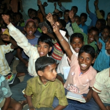 Happy school kids at Mehndiganj village