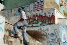 Sweeper at Assi Ghat